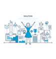 solution success in work achieving goals vector image