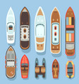 top aerial view boat and ocean ships set vector image