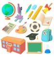 School icons set in cartoon style vector image