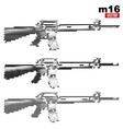 M16 rifle halftone set vector image