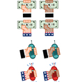 Hand holding cash and mobile phone vector image vector image