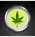 Cannabis icon on metal button vector image vector image