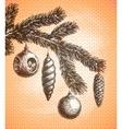 Christmas decoration on a Christmas tree sketch vector image vector image