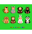 Funny children in animal costumes vector image
