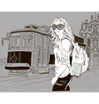 Sketch of a Lady Sightseeing vector image