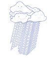 cartoon funny clouds and rain with smiling faces vector image