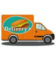 orange delivery truck side view burger poster vector image