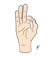 Sign language and the alphabetThe Letter f vector image