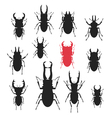 Silhouettes of different kinds of Stag beetles vector image