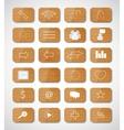 Wood social button vector image