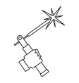 mig welding torch in hand icon outline vector image