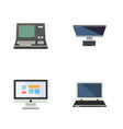 flat icon laptop set of display pc technology vector image