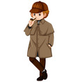man in brown jacket with smoking pipe vector image