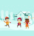 multicultural children playing snowball fight vector image