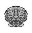Zentangle stylized black sea shell Hand Drawn vector image