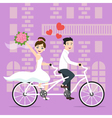 young happy newlyweds bride and groom riding on vector image