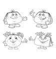 Set cartoon smiling purses outline vector image vector image