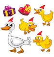 Christmas theme with ducks and presents vector image