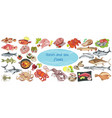 colorful drawing marine food collection vector image
