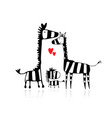 zebra family sketch for your design vector image