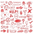 Hand drawn red doodle elements vector image