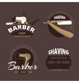 Barber shop and shave vintage logo labels vector image