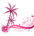 pink palm wave vector image vector image