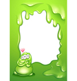 A border template with a green monster and a heart vector image