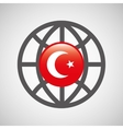 globe sphere flag turkey country button graphic vector image