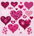 lace and floral hearts vector image