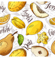 seamless pattern with fruits carambola and vector image