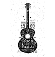 Vintage grunge label with guitar vector image