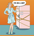 pop art young woman on diet with locked fridge vector image