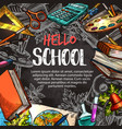 hello school poster with education supplies frame vector image