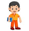 cute boy carrying book cartoon vector image