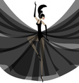 ballerina in black vector image