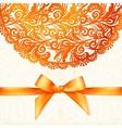 Ornate orange greeting card template vector image vector image