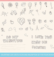 Valentines Day Sketch Icon and Inscription Set for vector image