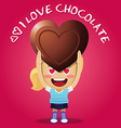 happy woman carrying big heart chocolate vector image