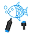 Fish and blue marker vector image