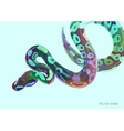 Cool varicoloured poster with lowpoly anaconda vector image