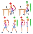 Correct and uncorrect bad sitting and walking vector image
