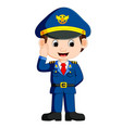 cute happy airplane pilot waving vector image