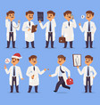 doctor man character different pose nursery vector image