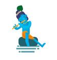 god krishna character sitting vector image