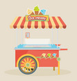 shiny colorful ice cream cart awesome creative vector image
