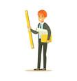 smiling architect in orange safety helmet holding vector image