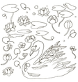 swan and water plants vector image