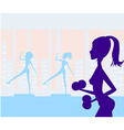 women exercising in gym vector image