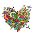 floral heart for your design vector image